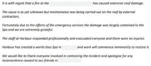 Crisis Statement Hotel Fire